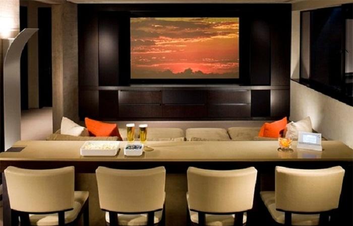 Шикарное оформление комнаты с телевизором, который позволит создать необыкновенную обстановку.