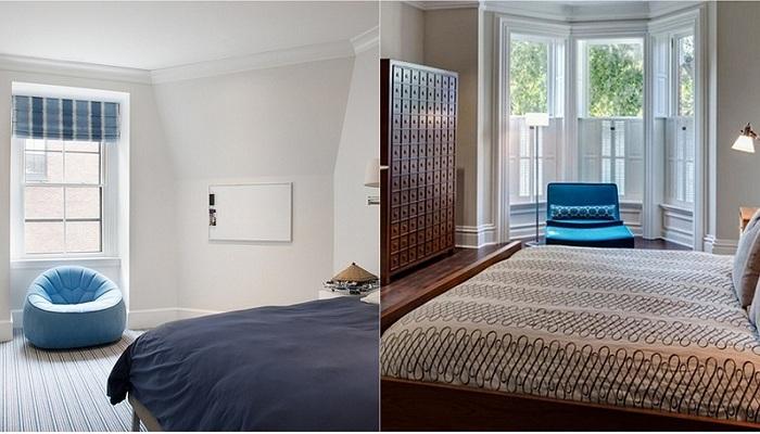 Яркие и интересные идеи оформления спален при помощи синих кресел.