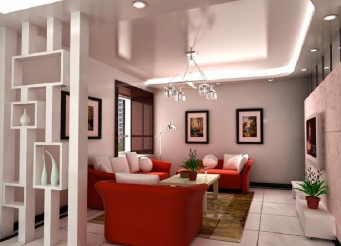Прекрасный вариант благоустроить комнату при помощи гипсокартонных оригинальных перегородок.