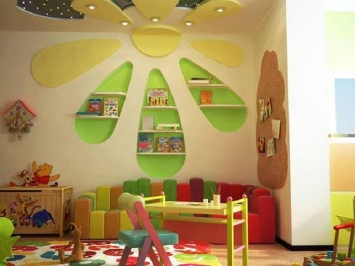 Декорирование комнаты при помощи оригинального оформления стен при помощи гипсокартона, что выглядит отлично.