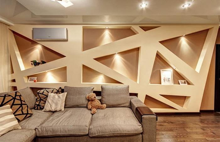Симпатичный и прекрасный вариант оформления стены при помощи гипсокарнного обрамления.