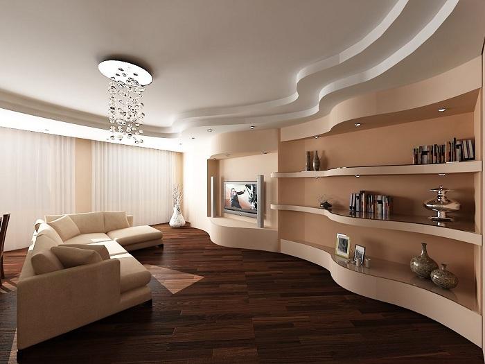 Отменный вариант для декорирования стен благодаря гипсокартонному оформлению.