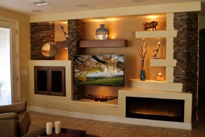 Прекрасные кофейно-сливочные тона в оформлении интерьере при помощи гипсокартонных стен.