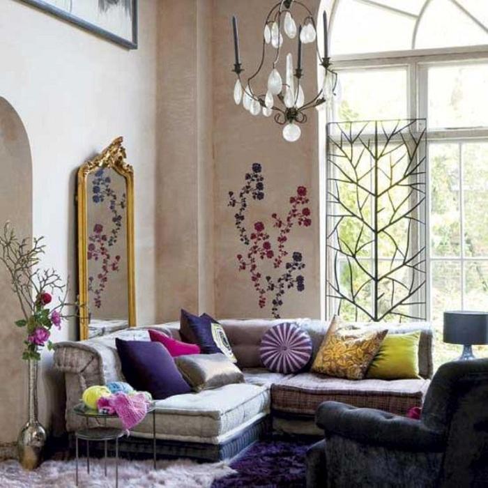 Интересный интерьер комнаты в стиле бохо, отличный вариант оформления комнат.