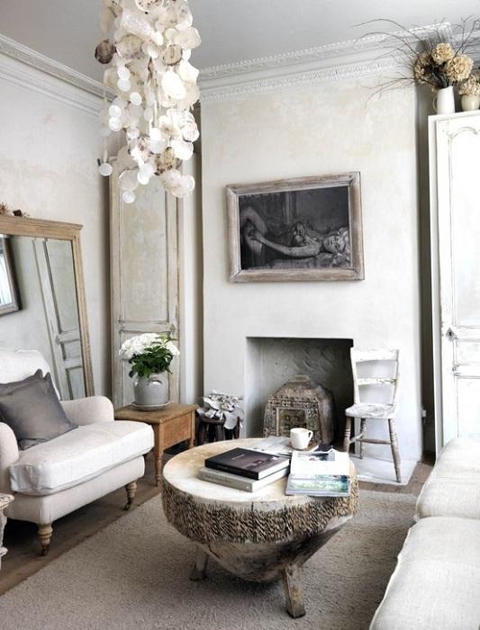 Бело-серая гостиная - простой и неотразимый вариант оформления гостиной в стиле бохо.