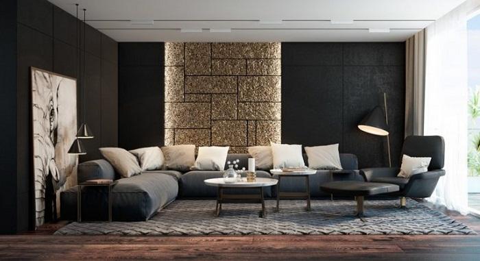Золотая деталь интерьера на фоне черного выглядит потрясающе.