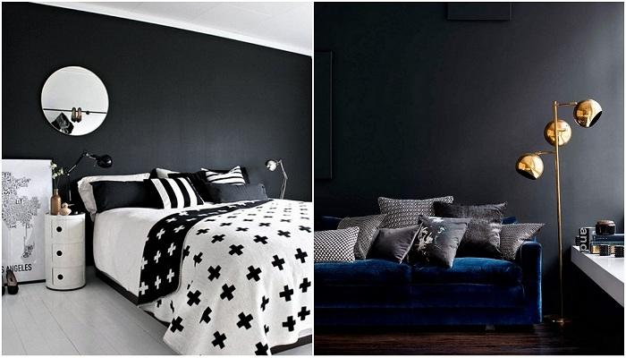 Примеры оформления комнат с акцентной черной стеной.