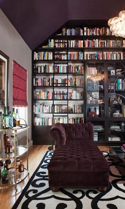 Особенная комната в шоколадных тонах для обдумывания грандиозных планов на будущее с прекрасными книжными полками.