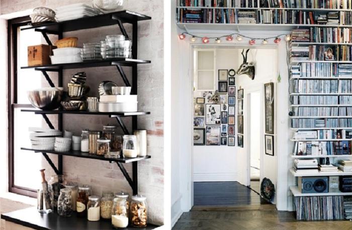 В этой комнате царит гармония и преобладает по настоящему домашняя обстановка. Этот эффект получен при комбинировании настенных шкафов с книгами, которые только дополняют общую картину комнаты.