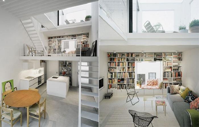 Интересный интерьер, который украшают полки с книгами.