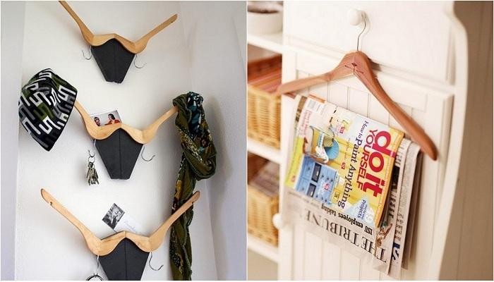 Примеры перепрофилирования вешалок для одежды.