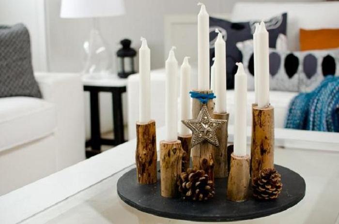 Дерево — благородный материал, из которого получаются очень стильные, эффектные подсвечники.