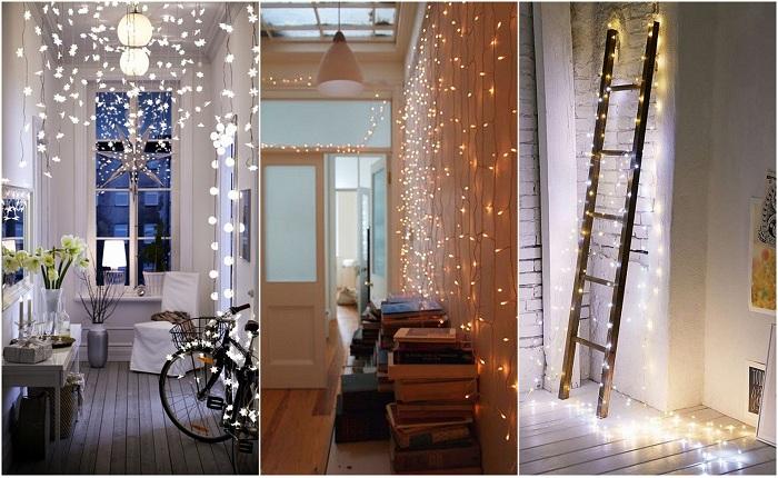 Примеры украшения комнат гирляндами.