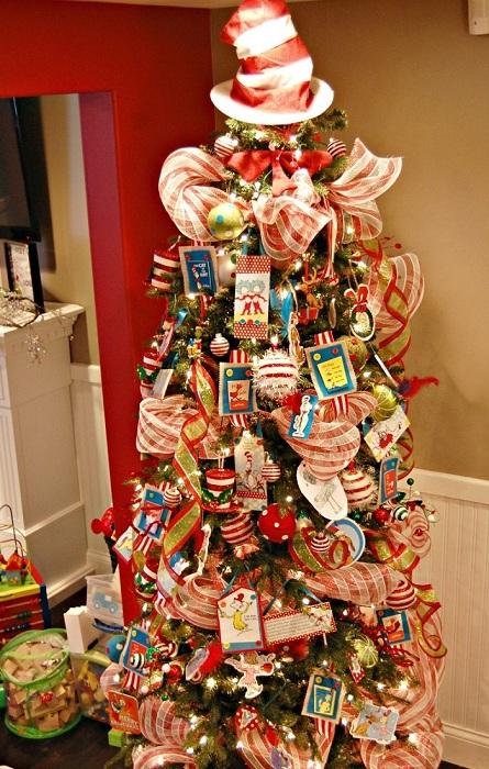 Милое оформление елки с игрушками в красно-белую полосочку.