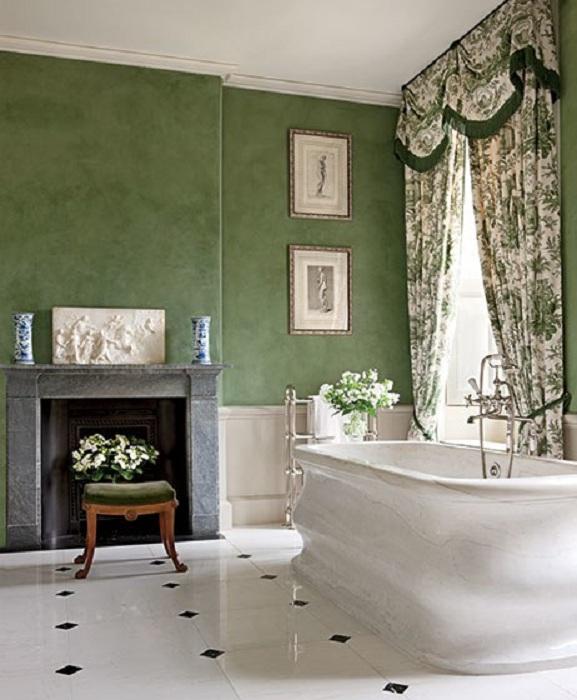 Смелое решение создать интерьер в зелено-белых тонах, которые создадут своеобразную атмосферу.