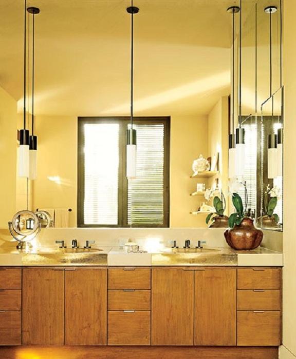 Оформление зоны для умывания в лимонном цвете, то что станет отличным дополнением к ванной комнате.
