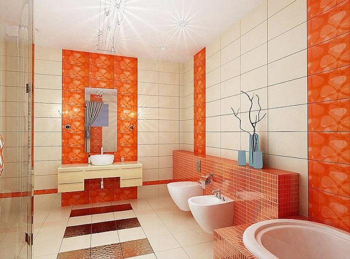 Интересное решение для оформления ванной комнаты в оранжевых с белым цветами, что станет находкой.