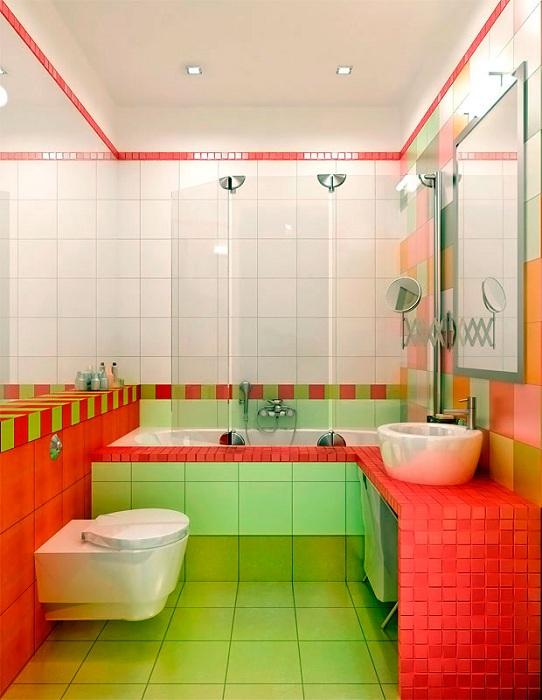 Яркая арбузная краска - сочетания зеленого и красного, то что станет пестрым и ярким дополнением к дизайну ванной.