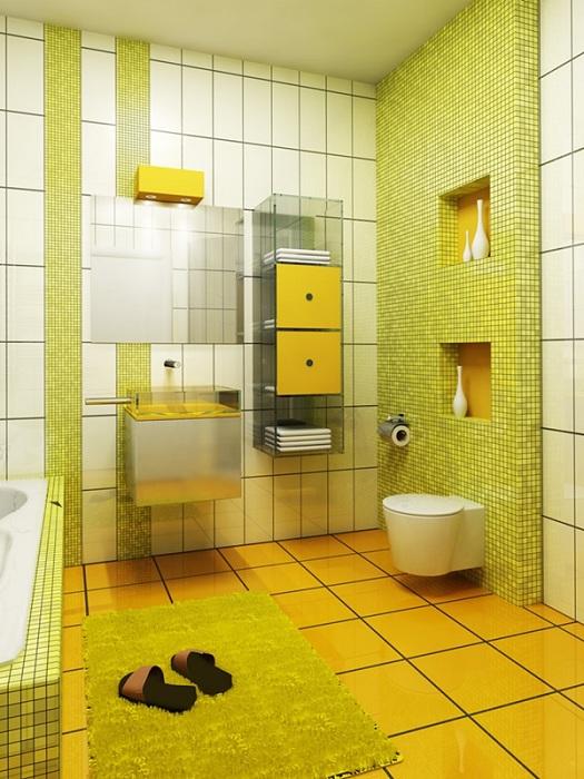 Интересное и приятное решение для ванной комнаты, возможность оформить ее в салатово-желтых цветах.