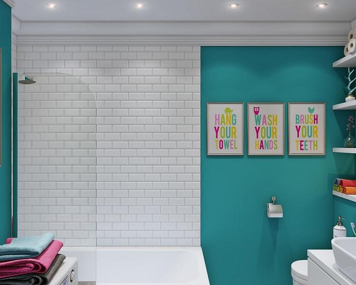Прекрасная возможность оформить интерьер ванной в синих оттенках.