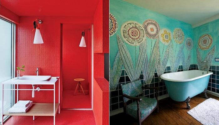 Красочные ванные комнаты, которые подарят массу положительных эмоций.