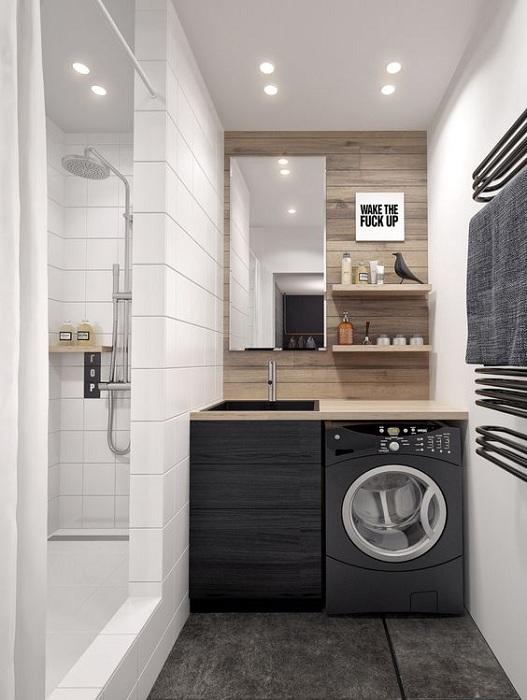 Создать интересную обстановку в ванной комнате возможно благодаря необыкновенной технике и симпатичным элементам декора.