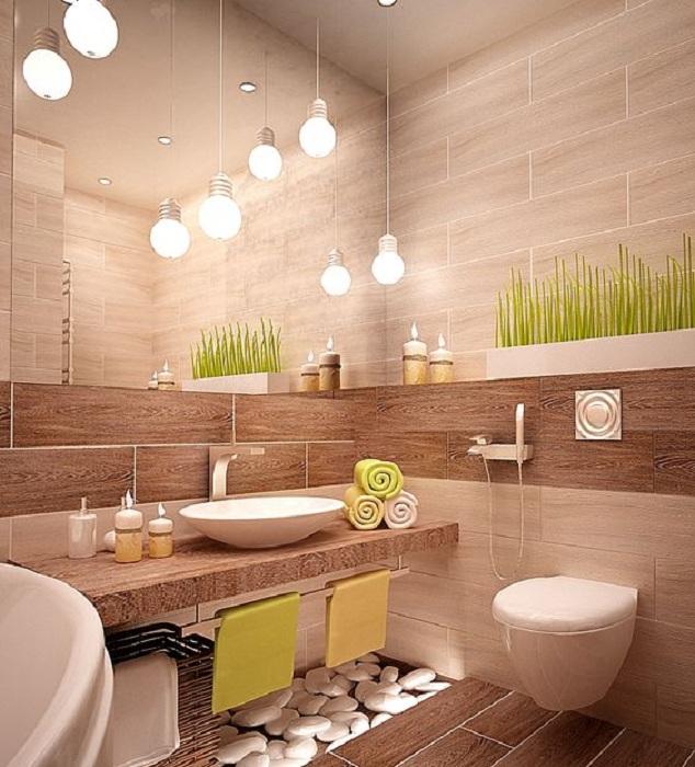 Красивый интерьере в ванной комнате в бежевых тонах с добавлением коричневых, что создает просто отменную обстановку.