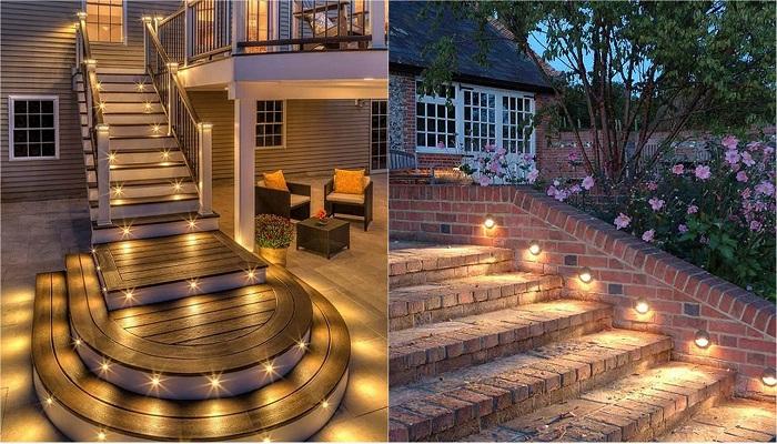 Оформление двора при помощи ступеней с подсветкой.