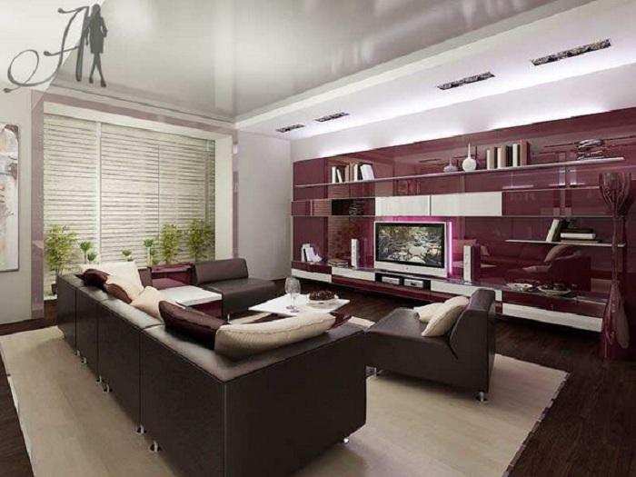 Классический стиль и оригинальное цветовое решение в интерьере гостиной.