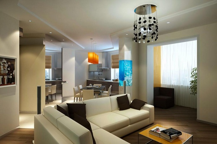 Светлые тона визуально расширяют пространство гостиной.