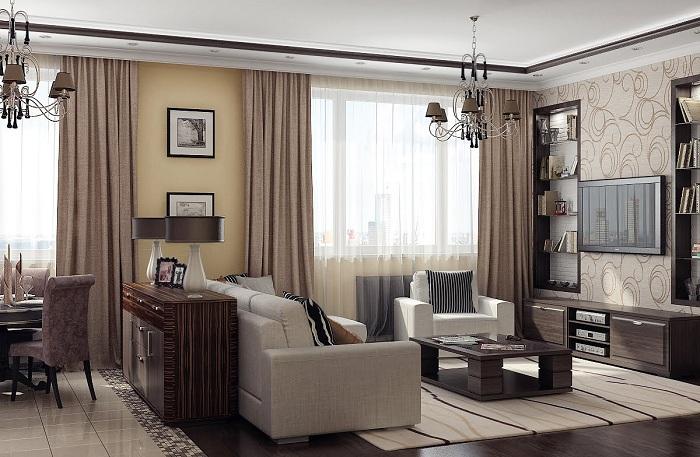 В этой стильной гостиной есть и зона отдыха, и рабочий кабинет