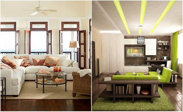 Примеры оформления современной гостиной.