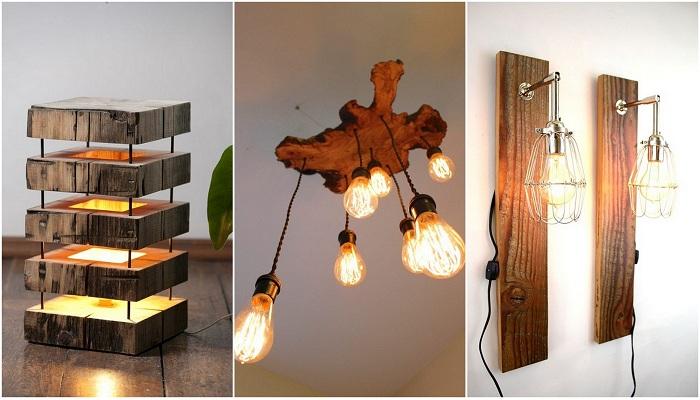 Оригинальные деревянные светильники, что станут просто изюминкой любого интерьера.