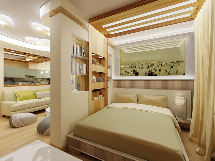 Отличный вариант оформления комнаты в оливковых и сливочных тонах, с оригинальной перегородкой в молочных тонах.
