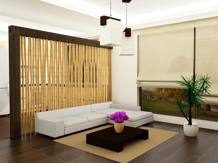 Хороший вариант облагородить атмосферу в гостиной благодаря бамбуковой перегородке, которая станет просто красивым элементом декора.