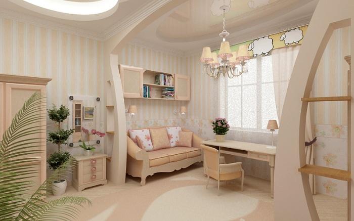 Просто легкая и воздушная обстановка в комнате создана благодаря применению нежных тонов в её оформлении и светлых тонах.