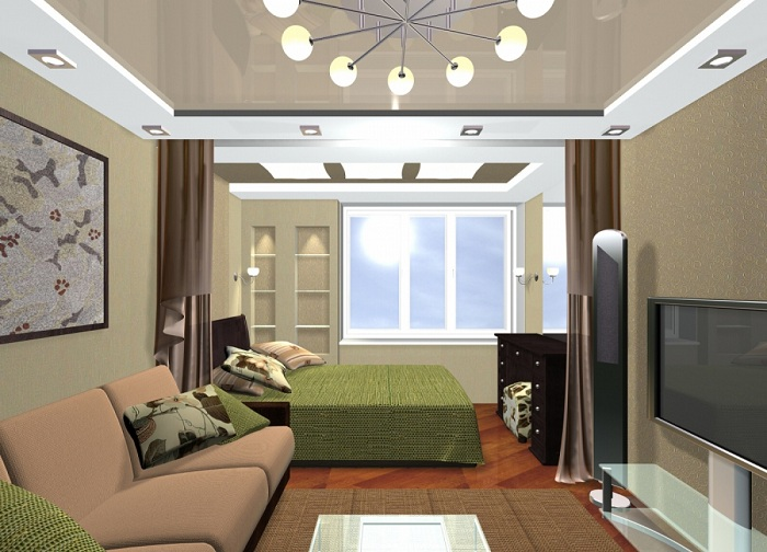 Симпатичные сочные зеленоватые оттенки, которые станут просто отличным вариантом при оформлении комнаты с перегородкой что зонирует пространство.