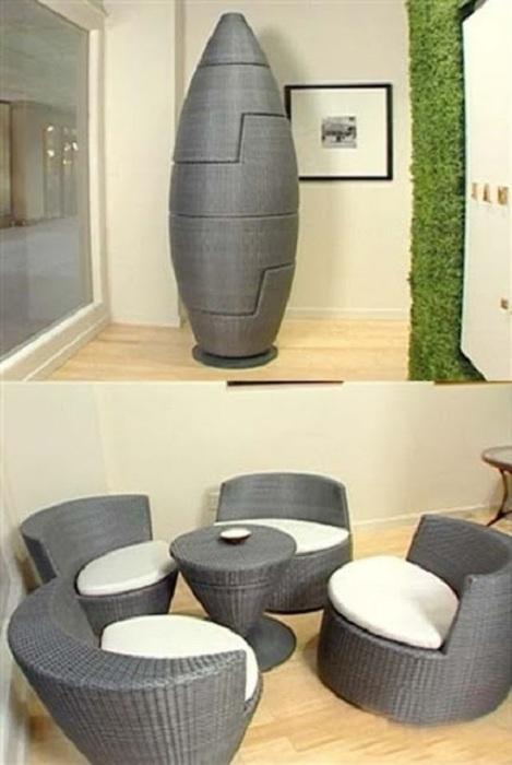 Необычное оформление тубы, которая просто трансформируется в отличный небольшой столик со стульчиками.