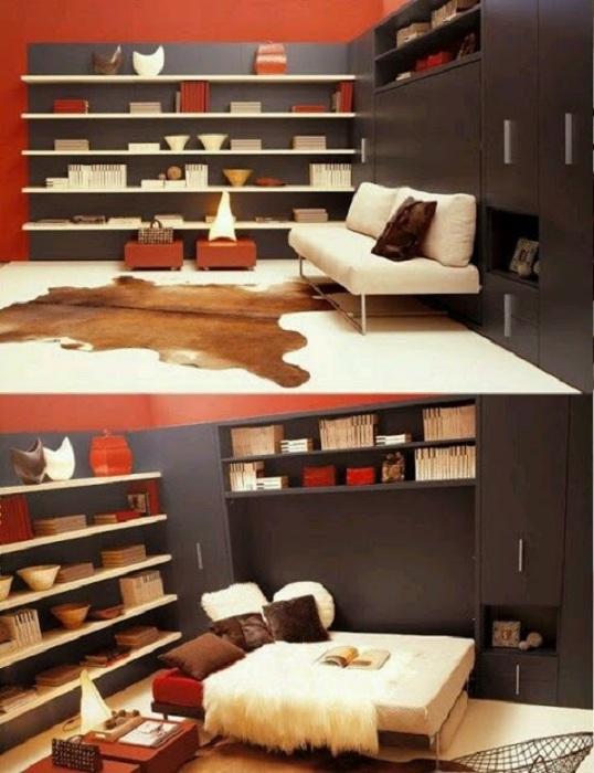 Комната, которая оформлена очень интересно в виде уголка, что понравится и создаст необыкновенную обстановку.