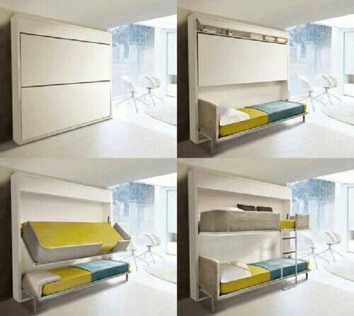 Трансформация стены и её преображение в спальное место, что выглядит очень просто и заманчиво.