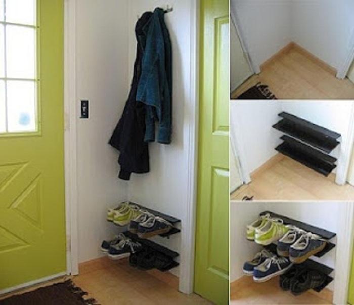 Отличный вариант для хранения обуви, что создаст просто отличную атмосферу и оптимизирует пространство около входной двери.