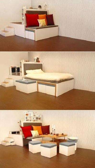 Оригинальный вариант дивана-трансформера, что не только сэкономит пространство, но и украсит по-своему интерьер.
