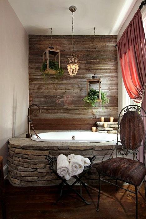 Оригинальное оформление ванной комнаты, которая создана специально для приятного принятия водных процедур.