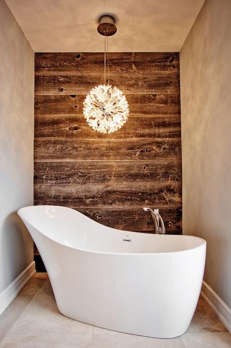 Создание такого интерьера возможно при помощи украшения стены деревом.