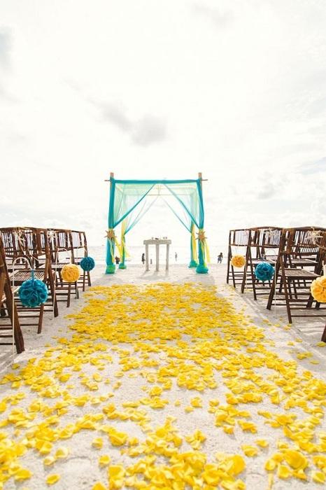 Желто-бирюзовые тона – яркий и креативный вариант оформления свадьбы на открытом воздухе.