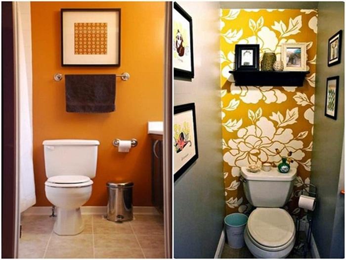 Оформление стен в ванной комнате, что выглядит очень интересно и симпатично.