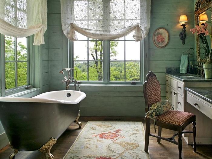 Одно из самых лучших решений - оформление ванной комнаты в симпатичной зеленоватой цветовой гамме.