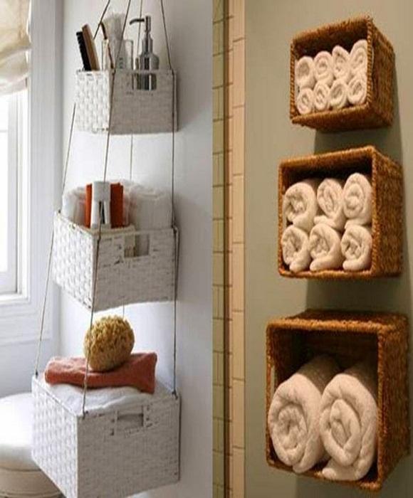 Удачное декорирование стены в ванной комнате и максимальная оптимизация пространства.