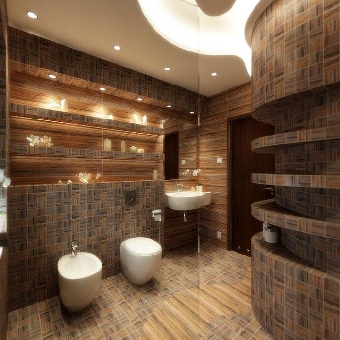 Интерьер ванной комнаты преображен благодаря оригинальному оформлению ванной комнаты симпатичной плиткой, что станет самым лучшим решением для неё.