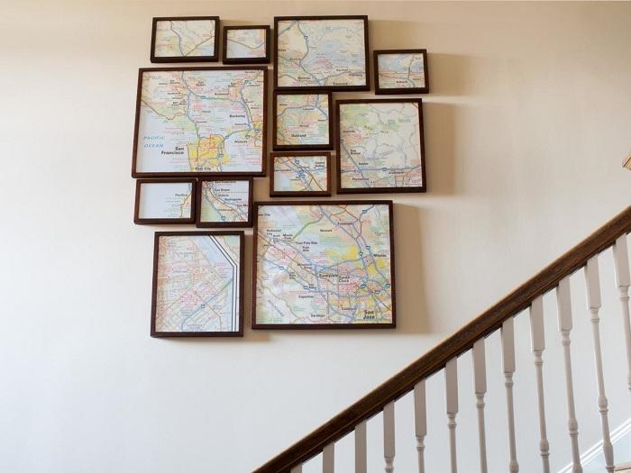 Оригинальное решение украсить стену, вот такой нестандартной картиной, которая разделена на произвольные части.